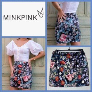 MINKPINK Botanica Satin Mini Skirt